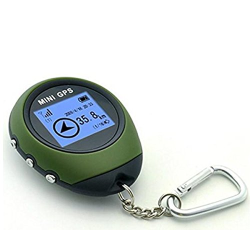 jinzhicheng Tragbarer Camping Wandern Radfahren Mini USB GPS Locator Navigator mit Schlüsselanhänger (dunkelgrün)