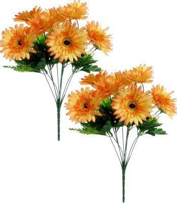 Fourwalls beautiful Gerbera silk Flower Bouquet (Set of 2, 20 Flowers, Tall, Orange)