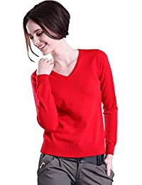 Minetom Femme Pull en Cachemire Sweater Sexy Col V Manches Longues Casual Tops Blouse