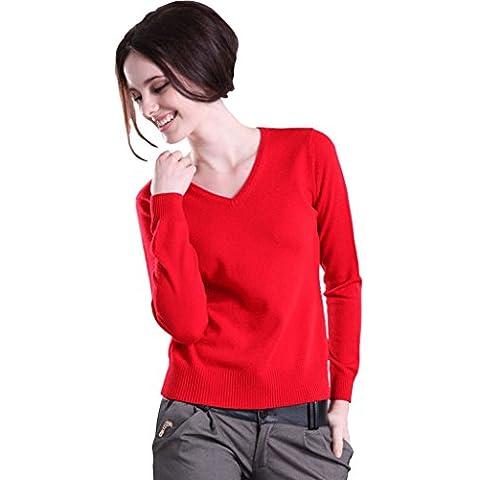 Minetom Donna Manica Lunga Slim fit Casuale V collo Camicetta La Maglietta E Top Camicie Maglioni Sweatshirt ( Rosso IT 38 )