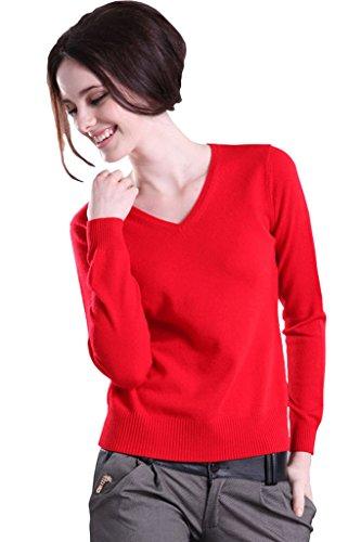 Minetom Damen Herbst Winter Wolle Lange Ärmel Strickjacken Mit V-Ausschnitt Relaxed Pullover Langarmshirt Mit Stretchanteil Rot