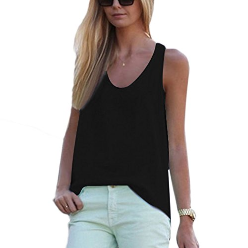 ZEARO Frauen reine Farbe des Comfy Loose Fit Chiffon Weste T-Shirt Schwarz