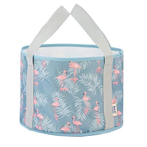 LIOOBO Multifunktionale Zusammenklappbare Tragbare Reise Outdoor Waschbecken Klappbare Eimer mit Flamingo Muster Trips Fußbad Wasser Tasche für Angeln Waschen (Blau) M (Waschbecken Outdoor-grill Mit)