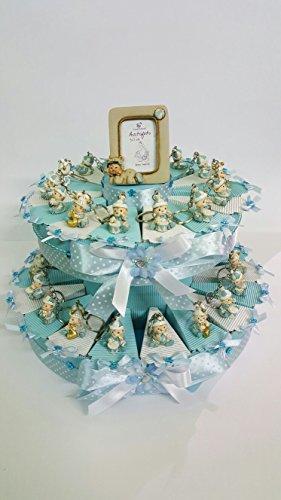 Torta bomboniere bimbo pagliaccetto celesti con strass portachiavi compleanno, nascita, battesimo da 32 fette completa di bigliettino
