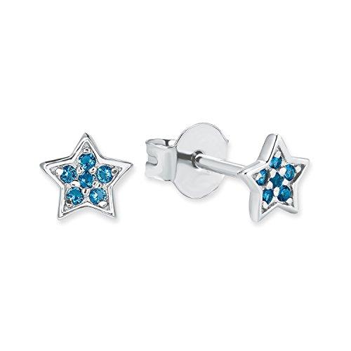 """s.Oliver Mädchen-Ohrstecker \""""Sterne\"""" aus glänzendem 925 Sterling-Silber mit Glas-Steinen in blau"""