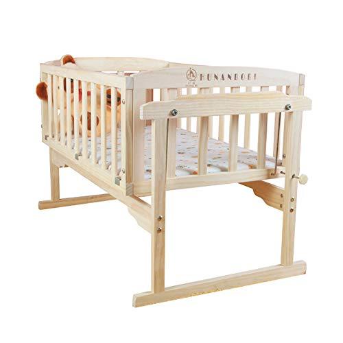 KLI Cama De Oscilación De La Cuna del Bebé De Madera De La Cuna del Bebé De La Pintura Inofensiva Sólida Inofensiva Sólida Inofensiva con 5-Set, 86 * 50 * 68Cm,Cribmosquitonet5sets