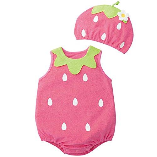 CuteOn 2er-Pack Unisex ?rmel Cartoon Cotton Babykleidung Body-Hut-Kappe Erdbeere 90cm