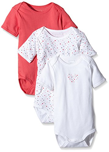NAME IT Baby-Mädchen Body NITBODY SS M G NOOS, 3er Pack, Gr. 80, Mehrfarbig (Rouge Red)