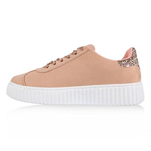 Sneakers Low Damen Lack & Glitzer Turnschuhe Freizeit Schuhe Peach Agueda