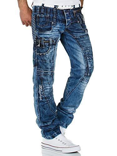 Kosmo Lupo Herren Jeans Denim Hose K&M Designer Jeans Clubwear Japan Style Verwaschen (Blau (020), 32W / 32L) -