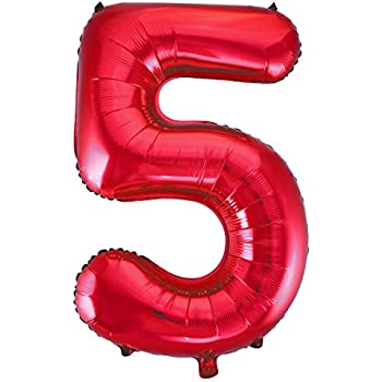 Chiffre Taille Rouge Ballon Unique Amscan Mylar 5 WHI2YED9