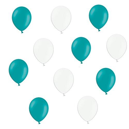 50 x Premium Luftballons je 25 Türkis Weiß - ca. Ø 28cm - EU WARE nach EN 71 Ballons als Deko, Party, Taufe, Hochzeit - Helium geeignet - twist4®