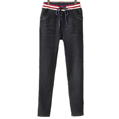 Byjia Jeans Donna Ispessita E Verso Il Basso Per Tenere Caldo Con Elastico Lungo Sciolto Tinta Unita Casual Denim Stretch Pantaloni Black