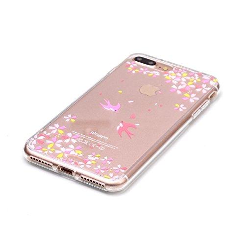 iPhone 7 Plus Hülle,SainCat iPhone 7 Plus Silikon Hülle Tasche Handyhülle Cartoon Retro Muster [Löwenzahn] Schutzhülle Transparent TPU Gel Case Bumper Weiche Crystal Kirstall Clear Silikonhülle Durchs Swallow Blumen