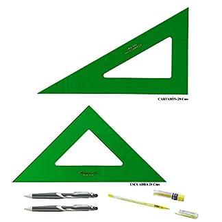PACK LOTE Faber Castell Técnico – Escuadra 566-28 Cms + Cartabón 666-28 Cms + REGALO