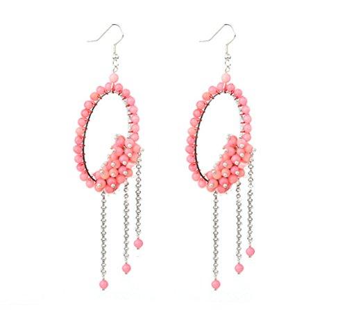 12 - TreasureBay impresionante Color Rosa Coral Cluster Dangle Pendientes Peirced–presentada en una bonita caja de regalo