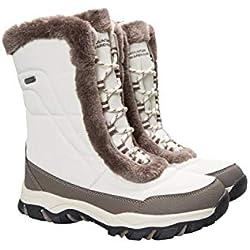 Mountain Warehouse Botas de Nieve para Mujer de Ohio: Zapatos de Invierno a Prueba de Agua, Parte Superior de Tela, Forro y Suela de Goma Isotherm Transpirable y Duradero Beige 38