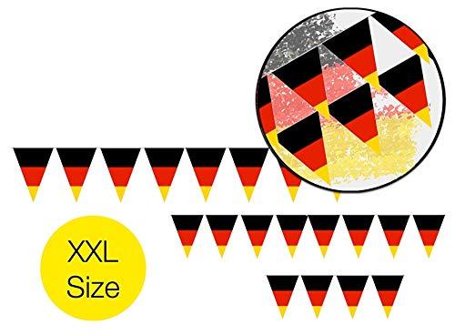 TK Gruppe Timo Klingler Wimpelkette 360 cm Deutschland Girlande schwarz, rot, gelb (Gold) als Deko Dekoration, Fanartikel, Partydekoration