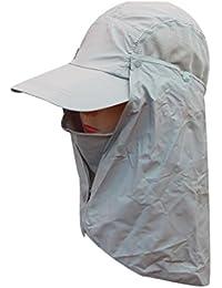 Sun Caps Flap Sombreros 360 ° de protección solar UPF 50+ sol del casquillo desprendible del cuello y de la cara de la cubierta de la aleta de Tapas para las mujeres del hombre , light gray
