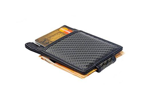 Geldbörse Herren Carbon Leder schwarz Slim Wallet RFID mit Münzfach, Geschenkbox (Clip Magnetische Portemonnaie Geld Leder)