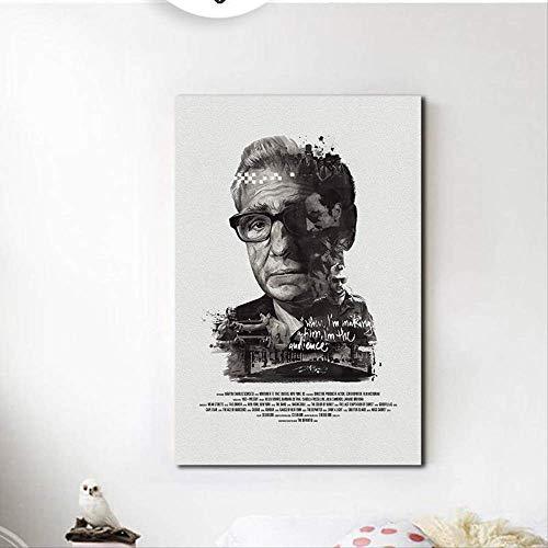 LIZQQ Bilder Leinwanbilder Schwarz Weiß Retro Poster Berühmte Regisseur Leinwand Malerei Ungerahmt Print Bilder Für Zuhause Wohnzimmer Dekor Bild auf Leinwand