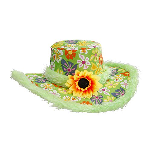 Carnevale Hippie Kostüm - Widmann - Hut Ibiza mit Plüschrand und Sonnenblume