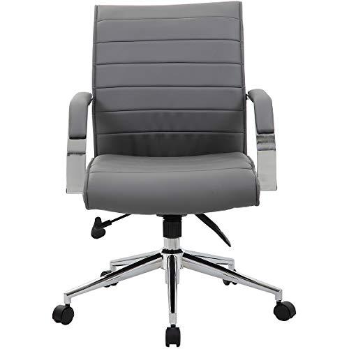 Chefsessel Identity mit Lederbezug, grau - Bürostuhl mit Soft Touch Leder - Schreibtischstuhl mit italienischem Design
