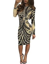 c5af11157 Mujer Vestidos De Fiesta hasta La Rodilla Elegantes Dulce Lindo Chic  Estampado Vestido Coctel Manga Larga Cuello…