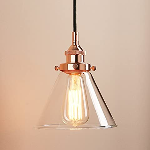 Pathson 7.4 Inch Industrial Vintage Modern Cone Clear Glass Shade Edison Switch Hanging Ceiling Pendant Light Fixture Loft Bar Kitchen Island Chandelier (Copper)