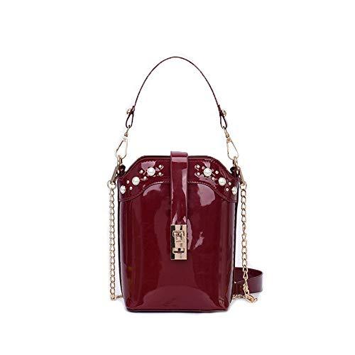 AgooLar Donna Patent-Leather Borse di tela Catene Borse a tracolla,GMMBA207999,Chiaretto