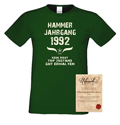 Geschenk Set : Geschenkidee 25. Geburtstag ::: Hammer Jahrgang 1992 ::: Herren T-Shirt & Urkunde Geburtstagskind des Jahres ::: Farbe: schwarz Dunkelgrün