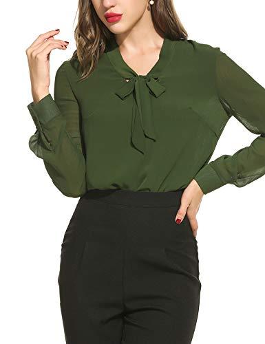 Beyove Damen Elegant Business Chiffonbluse Schluppenshirt T-Shirt mit Schleife V-Ausschnitt Einfarbig Tops