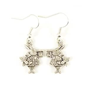 Jewellery Chic Boutique Silver Cute Alice in Wonderland White Bunny Rabbit Costume Jewellery Earrings + Gift Bag