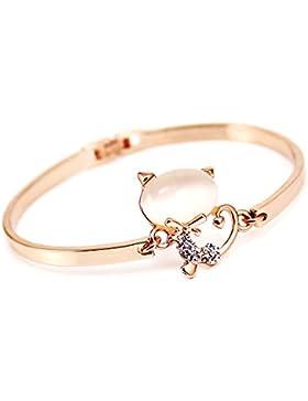 Rose Gold überzogenes Opal-Stein-Katzen-Armband-Armband für Mädchen-Frauen