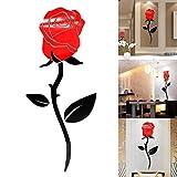 JUSTDOLIFE Wand Aufkleber 3D Rose Blume Acryl Aufkleber Wand Dekoration für Raum Dekor