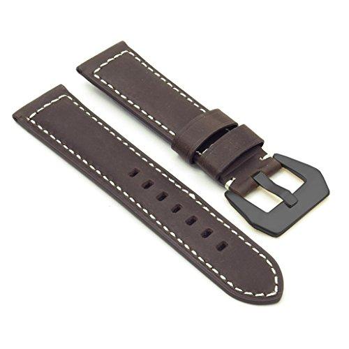 dassari-retten-dunkelbraun-Vintage-Leder-Armbanduhr-Band-mit-matt-schwarz-Pre-V-Dornschliee-fr-Officine-Panerai-2018-20-mm