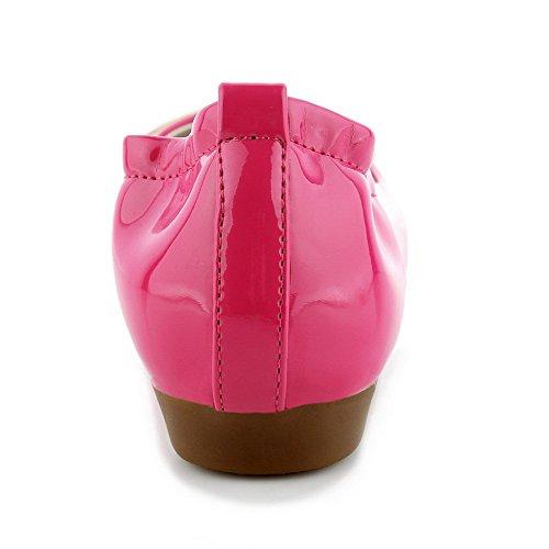 VogueZone009 Femme Pu Cuir Rond Couleur Unie Tire Chaussures Légeres Cramoisi