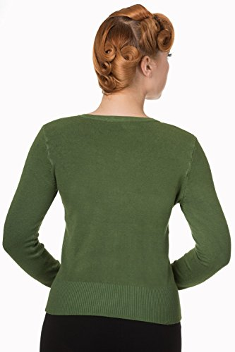 Banned Cardigan doux uni de style rockabilly années 50  Willow Bough Green