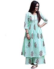 Women's Cotton Readymade Kurta and Palazzo Set