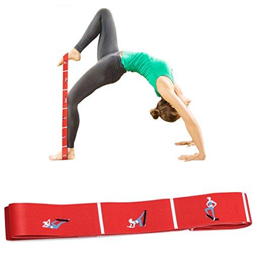 Super Stretch Band (Aeman Fitness Stretch Band mit Schlaufen - Elastikband Übungsband für Yoga, Physiotherapie, Reha, Pilates - Gymnastik Trainingsbänder für Männer & Frauen (rot))