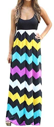 ASCHOEN Damen Sommerkleid am Meer Langkleid Casual Mehrfarbig Strandkleid Partykleid Kleid Gelb