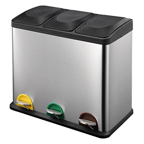 HARIMA Triple Poubelle Recyclage en Acier Inoxydable 54L | Poubelle Tri Sélectif avec 3 Compartiments (3 x 18L) | Bacs avec Couvercles et Pédales pour Déchets Ménagers, Jardin, Cuis