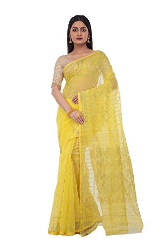 Avik Creations Women's Handloom Resham Silk Cotton Muslin Dhakai jamdani Saree Yellow...