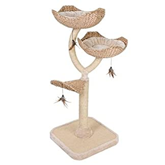 Chic Flower-Shaped Cat Tree With Thick Sisal-Wrapped Metal Pillars And Woven Platforms- Sturdy Scratching Posts… 5