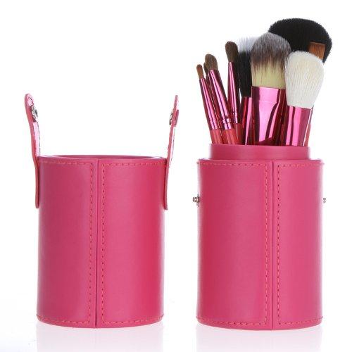 Anself 12pcs pinceau de maquillage professionnel Set Outil de maquillage de kit de brosse de maquillage avec Cup Holder Case en cuir (rose)