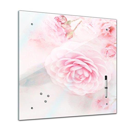Memoboard mit Winter SALE 40 x 40 cm, Aquarelle, 'Rosa Rosen' Glasboard Glastafel Magnettafel Memotafel Pinnwand Schreibtafel - Natur - Blumenbild - Wasserfarbe - Blüte - rosa - Wohnzimmer - Schlafzimmer - Küche - Bild auf Glas - Glasbild - Handmade - Design - Art