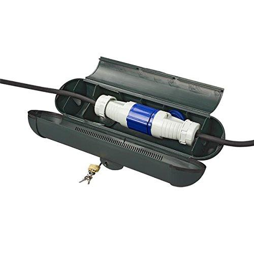 Unbekannt Sicherheitsbox für CEE Stecker Kabelschutz mit Schloss und 3 x Schlüssel Stromdiebstahl Schutz Kabelbox 370 x 90 mm bis Kabeldurchmesser 12 mm Setauswahl (2)