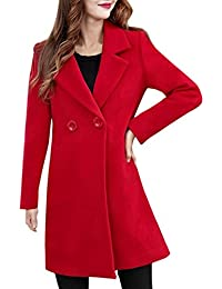 AIMEE7 Femme Cachemire Classique Mode Blazer Veste Manches Longues Casual  Chic Manteau (Rouge, M 998d7460d99b