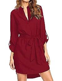 d65cefccd59e Kenoce Damen V-Ausschnitt Blusenkleid Hemdkleid Wickelkleider Shirtkleid  Langarm 3 4-Ärmel…