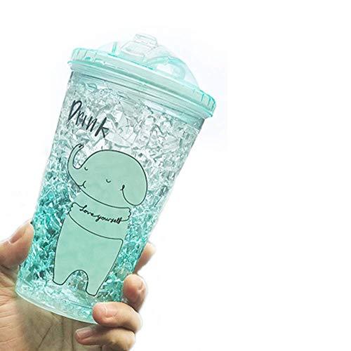 YUX Becher für eiskalte Getränke mit Deckel und Strohhalmen - Doppelwandige Eistüte, Milchshake-Gläser, Smoothie-Becher, Slush-Becher, Becher für eiskalte Getränke - BPA-frei -15 oz, Grün